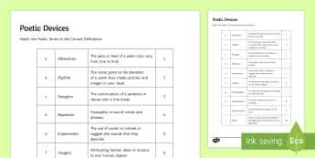 Poetic Devices Match and Draw - poetry, poetic devices, match, simile, metaphor, gcse, anthology, work sheet, revision, exam prepara