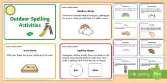 Outdoor Spelling Activities Challenge Cards - Spelling Challenge Activity - activity, spelling activity, game, fun, challenge, spelling challenge,