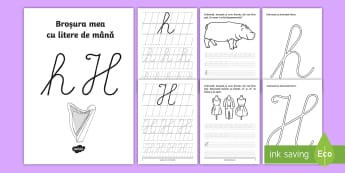 """Scrierea literelor """"h"""" și """"H"""" de mână Broșură cu activități - alfabetul, scriere, litere, de mână, grafisme"""