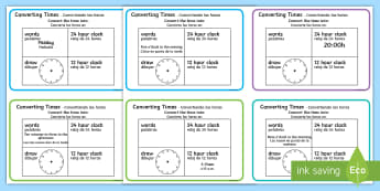 Converting Time Maths Challenge Cards English/Spanish - Converting Time Challenge Cards - time, clocks, hours, numeracy, challange, numracy, Timw, EAL, Span
