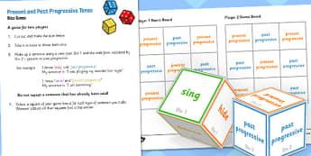 Present and Past Progressive Tense Dice Game - tense, game, dice