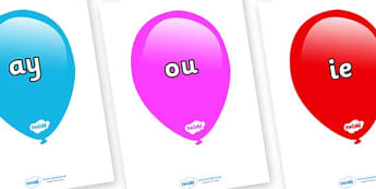 Phase 5 Phonemes on Balloons (Multicolour) - Phonemes, phoneme, Phase 5, Phase five, Foundation, Literacy, Letters and Sounds, DfES, display