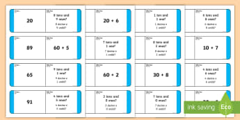Place Value Loop Cards 2 Digits English/Italian - Place Value Loop Cards 2 Digits - place value, loop, cards, 2, placevalue, plce value, place vlaue,