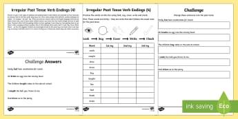 Year 2 Spelling Practice Irregular Past Tense Verb Endings (4) Go Respond Activity Sheet - ks1, English, year 2, practice, home learning, home work, homework, Worksheet, practise, SPaG, spell