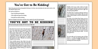 You've Got to Be Kidding Me! Newspaper Article Activity Sheet - goat, dam, walk, newspaper, worksheet
