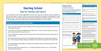 Starting School Hints and Tips Parent and Carer Information Sheet - reception, early years, new school, new starter, primary school