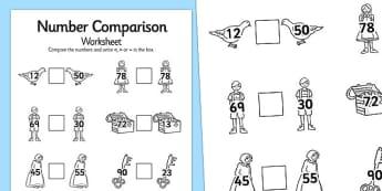 Hansel and Gretel Number Comparison Worksheets - number, sheet