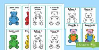 Describe It Colour It Teddy Game English/Polish - Describe It Colour It Teddy Game - describe it, colour, teddy,Polish-translation