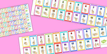 British Sign Language 0-20 Number Strips - number, strips, sign