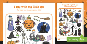 Halloween Themed I Spy With My Little Eye Activity Sheet English/Portuguese - i spy, find, describe, guess, activity, halloween,worksheet, eal