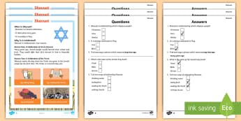 KS1 Shavuot Differentiated Reading Comprehension Activity - Reading Comprehension, Reading, Comprehension, Differentiated, English, Literacy, Decoding, Fluency,