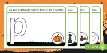 Halloween Themed Phase 2 Phoneme Playdough Mats