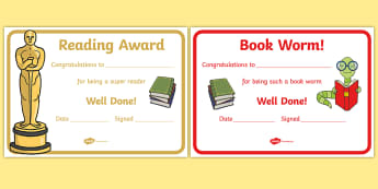 Editable Reading Award Certificates - Editable Reading Award Certificates, reading, read, books, editable, book, certificates, award, well done, reward, medal, rewards, school, general, certificate, achievement