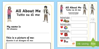 All About Me Book English/Italian - All About Me Book - me, myself, ourselves, people, new term, sen, oursleves, ourselvs, all bout me,A