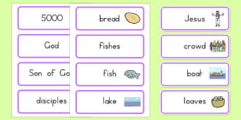 The Loaves and Fishes Word Cards - usa, america, the Loaves and the Fishes, loaves, fishes, Jesus, food, word card, flashcards, cards, the feeding of the five thousand, crowd, feeding, God, teaching, 5000, people, five loaves