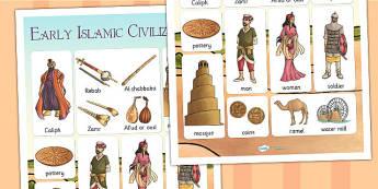 Early Islamic Civilization Vocabulary Mat - vocab mat, keywords