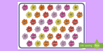 Coloured Flower Wall Tricky Word Mat - Coloured Flower Wall Tricky Word Mat - tricky word, flowers, wall, mat, word, trciky words, ticky wo