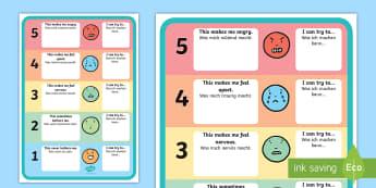 Feelings Trigger Chart with Strategies Activity English/German - EAL, German, Feelings Trigger Chart With Strategies - feelings, trigger, chart, strategies, feelins,