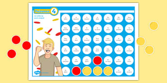 Four in a Row Perfect Tense Self-Checking Board Game French