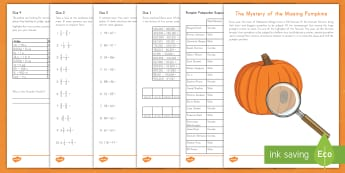 The Mystery of the Missing Pumpkins Math Activity - Halloween, Addition, Subtraction, Fractions, Adding Fractions, Subtracting Fractions, Mixed Numbers,