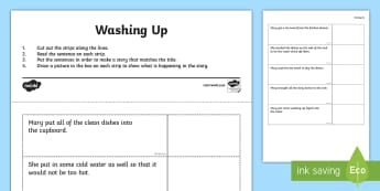Washing Up Story Sequencing Activity Sheet  - activity sheet, worksheet, story, sequencing, sentences, comprehension, worksheet, washing up,Irish