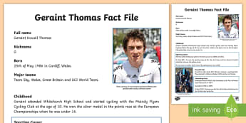 Geraint Thomas Fact File - Geraint Thomas, Tour de France, yellow jersey, cycling, seiclo, beicio, marchogaeth beic,Welsh