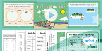 PlanIt English Y2 Term 3B W4: Months of the Year Spelling Pack - Spellings, Year 2, Term 3B, W4, proper nouns, time, months of the year, months, time words, telling