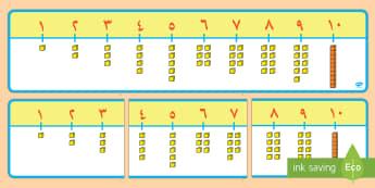 لوحة عرض خط الأعداد 1 إلى 10 مع مكعبات دينيس - الأعداد، العدد، عربي،حساب، رياضيات، خط الأعداد، مكعبا