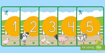 Números de exposición: En la granja - En la granja, transcurricular, proyecto, animales, vaca, cerdo, oveja, pato, caballo, cabra, burro,