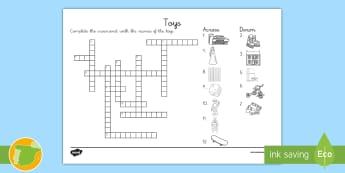 Crucigrama: Juguetes - Inglés - crossword, toys, juegos, lengua extranjera, inglés, english,,Spanish-translation