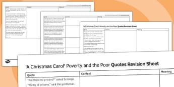 A Christmas Carol Quotes Revision Sheet Poverty and the Poor - a christmas carol, quotes, revision