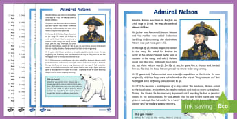 Admiral Nelson Differentiated Reading Comprehension Activity - Nelson, year 3, year 4, independent, facts, worksheet