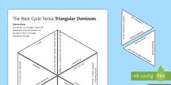 The Rock Cycle Tarsia Triangular Dominoes - Tarsia, Dominoes, Rock Cycle, Sedimentary, Igneous, Metamorphic, Weathering, Cementation, Deposit, G, plenary activity
