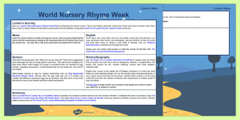 World Nursery Rhyme Week (7-11 November 2016) London's Burning Lesson Plan Ideas
