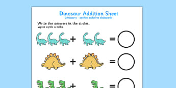 Cute Dinosaur Addition Sheet Polish Translation - bilingual, topic, maths, history