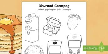 Taflen Lliwio Cynhwysion Crempogau - diwrnod crempog, crempog, crempogau, lliwio, cynhwysion, rysait, Welsh, dydd mawrth ynyd, dydd , ddydd, ddiwrnod