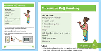 Microwave Puff Painting Activity - paint, sensory, feel, words, microwave, senses, touch, non-verbal,Australia