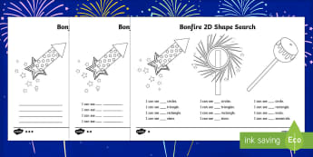 Bonfire Night 2D Shape Search Activity Sheet