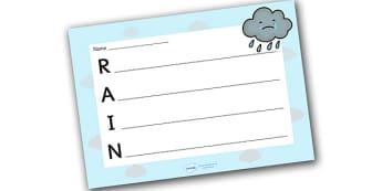 Rain Acrostic Poem Template - rain acrostic poem, weather acrostic poems, weather and seasons, rain acrostic template, wind poem template, rain, weather