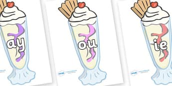 Phase 5 Phonemes on Ice Cream Sundaes - Phonemes, phoneme, Phase 5, Phase five, Foundation, Literacy, Letters and Sounds, DfES, display