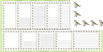 Sparrow Portrait Page Borders- Portrait Page Borders - Page border, border, writing template, writing aid, writing frame, a4 border, template, templates, landscape