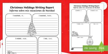 Christmas Holiday Report Writing Frames English/Spanish - Christmas Holiday Report Writing Frame - christmas, christmas holiday, writing report, writing, repo