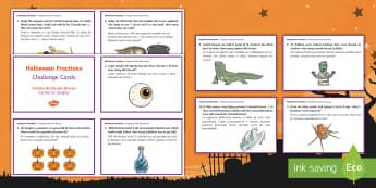 Halloween Fractions Challenge Cards English/Portuguese  - Halloween, october, festival, autumn, celebration, fractions, EAL, Portuguese