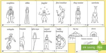 Circus Colouring Sheets - circus, clown, juggler, colouring, fine motor skills, poster, worksheet, vines, A4, display, acrobats, big top, magician, monkey, ring master, trapeze, horse, elephant, lion tamer, stilts, sea lion