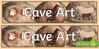 Cave Art Display Banner - stone age, cave painting, banner, prehistory, neolithic, cavemen, stone age, scavengers and settlers