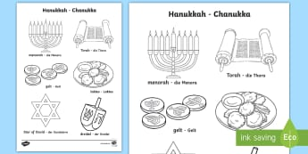 Hanukkah Words and Pictures Colouring Page English/German  - Jew, Judaism, celebration, light, festival, RE, religion, EAL, German, English-German,,German-transl