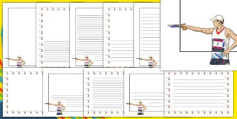 The Olympics Shooting Page Borders - Shooting, Olympics, Olympic Games, sports, Olympic, London, 2012, page border, border, writing template, writing aid, writing, activity, Olympic torch, events, flag, countries, medal, Olympic Rings, mascots, flame
