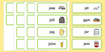 Initial j Sound Word Cards - initial j, word cards, sounds, cards