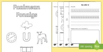 Fuaimean Fonaigs U  Duilleag-Obrach - Cfe, Early Level, First Level, Letters, Sounds, Phonics, Gaelic Sounds, Gaelic Alphabet,Scottish