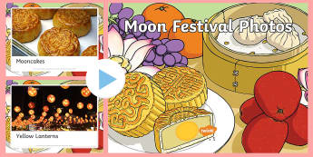 Moon Festival Photo PowerPoint - Mid-Autumn Festival, Mooncakes, Photos, Harvest,